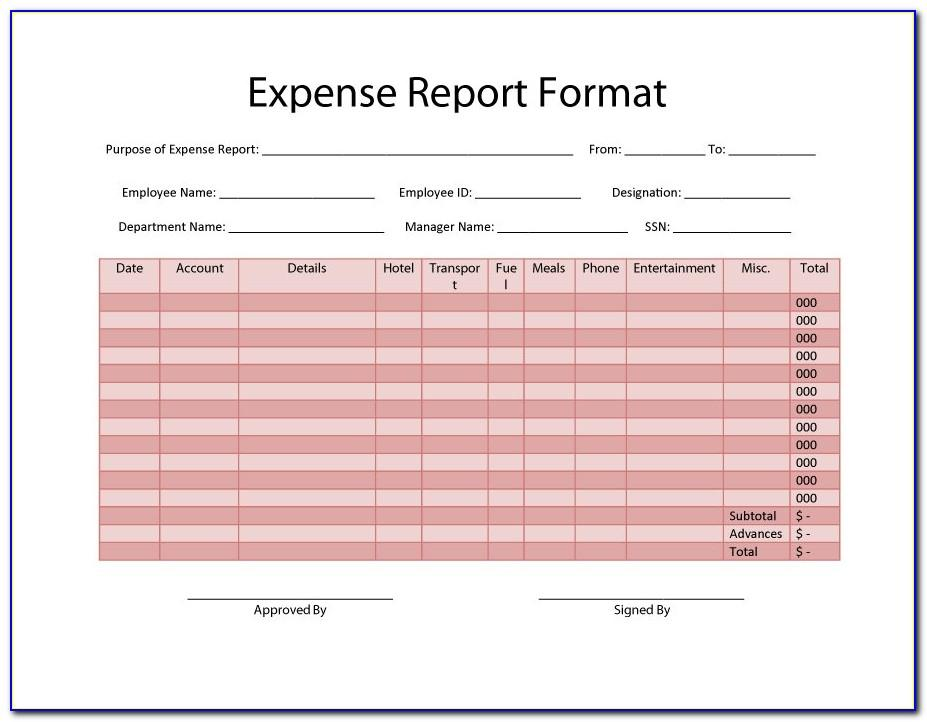 Printable Expense Report Format