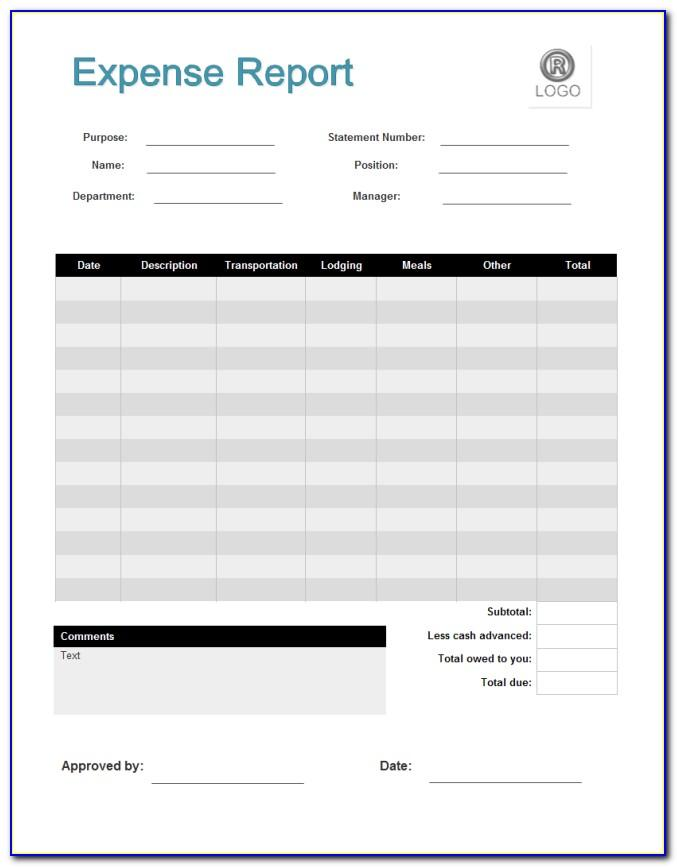 Printable Expense Report Template Oracle Cloud