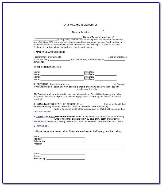 Printable Last Will And Testament Texas
