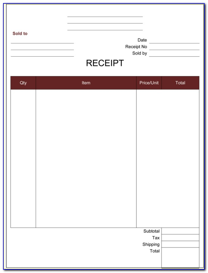 Printable Receipt Template Word