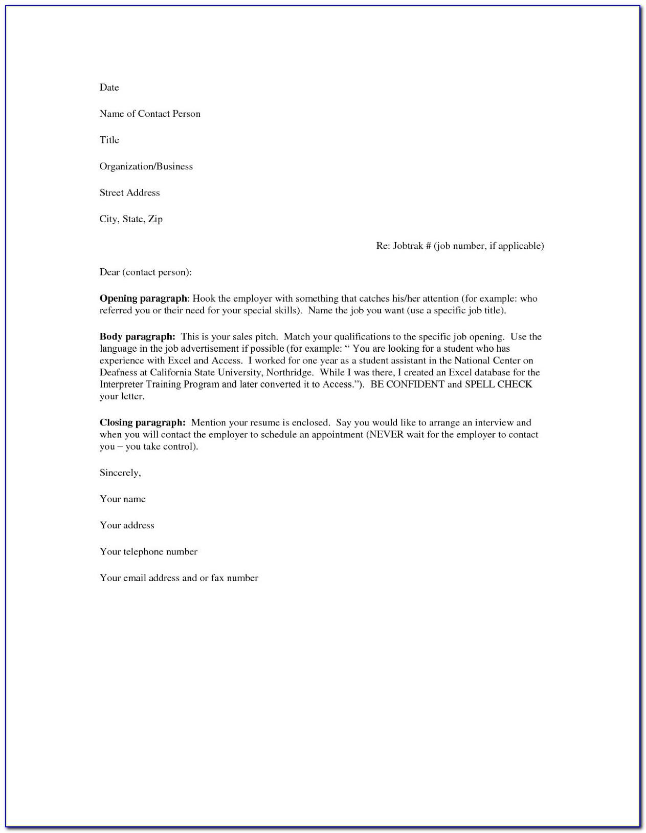 Printable Resume Cover Letter Samples