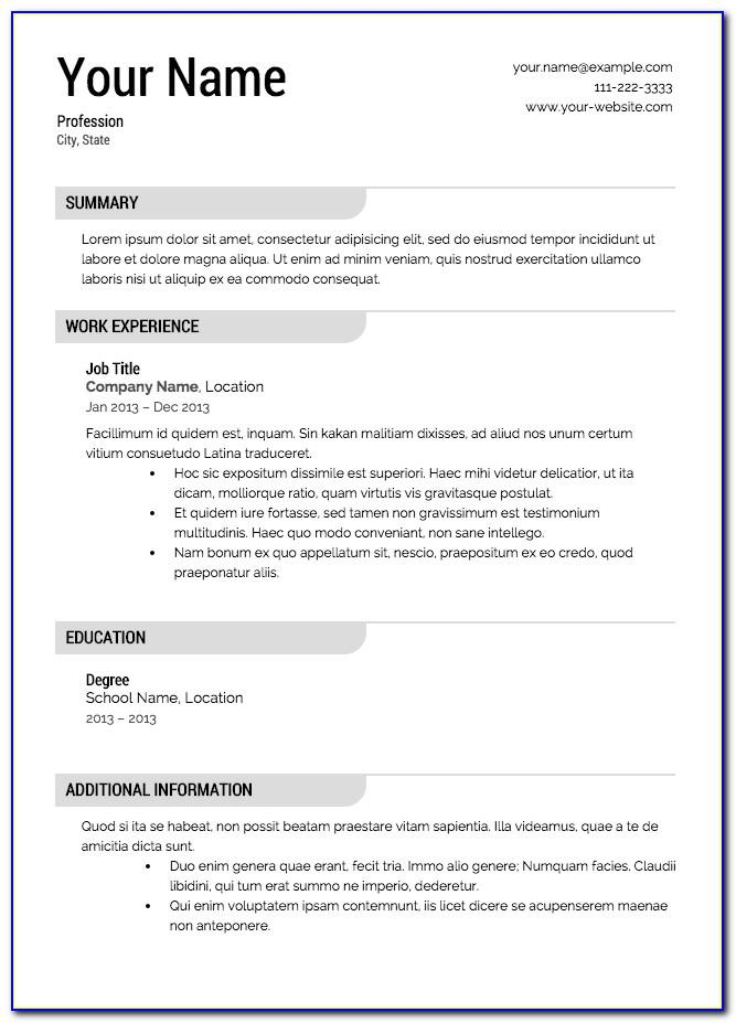 Printable Resume Template For High School Students