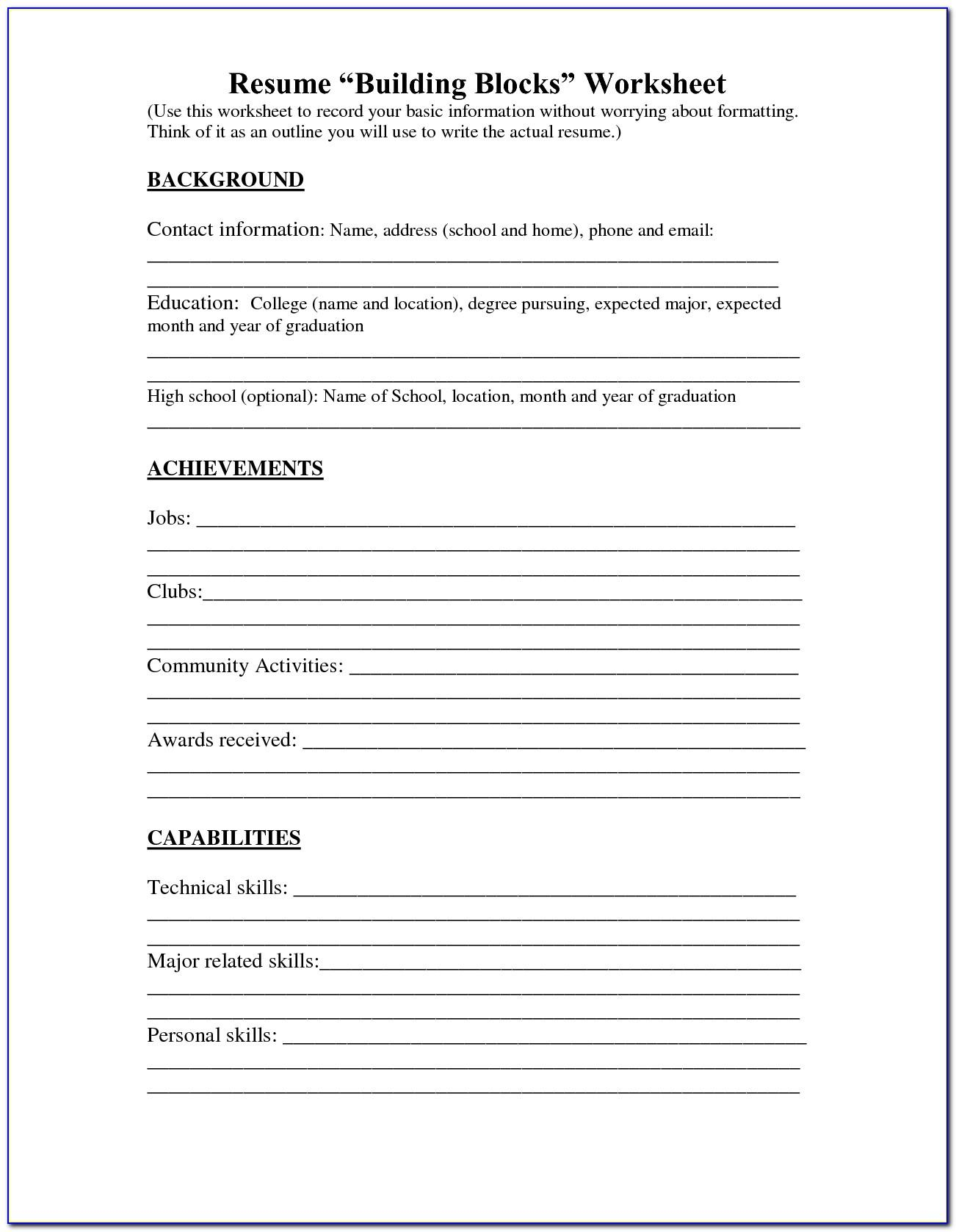 Printable Resume Template For Highschool Students