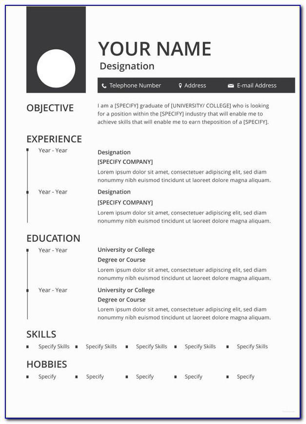 Printable Resume Template Word