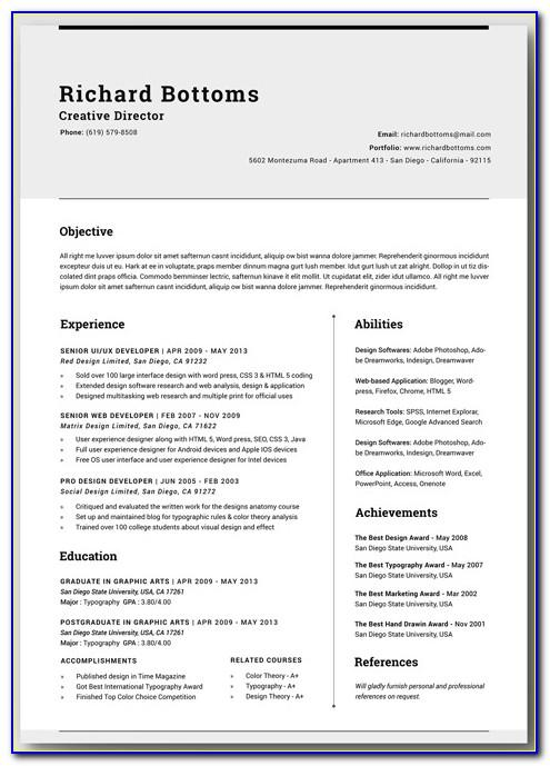 Printable Resume Templates Examples