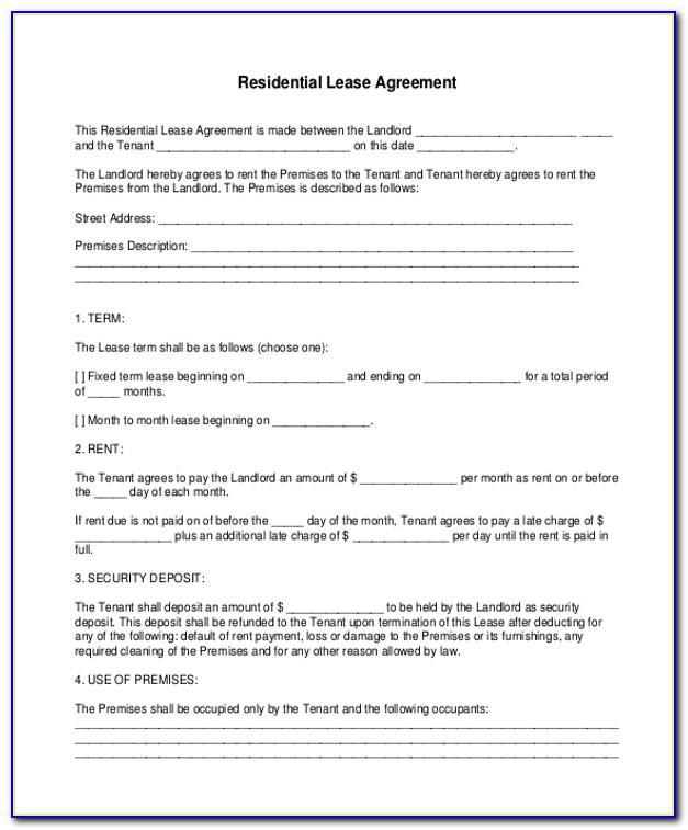 Printable Room Rental Agreement Form