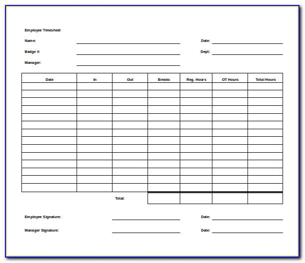 Printable Timesheet Template Word