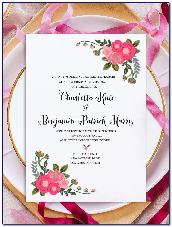 Printable Wedding Invitation Template Free