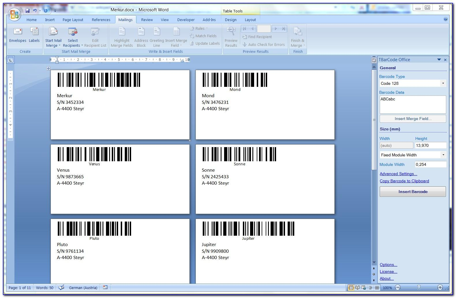 Printing Labels From Excel In Microsoft Word 2010