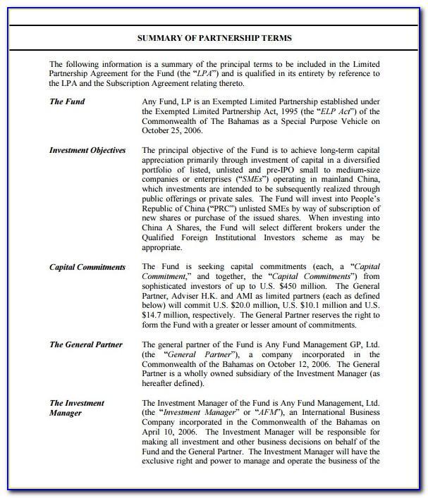 Private Equity Private Placement Memorandum Sample