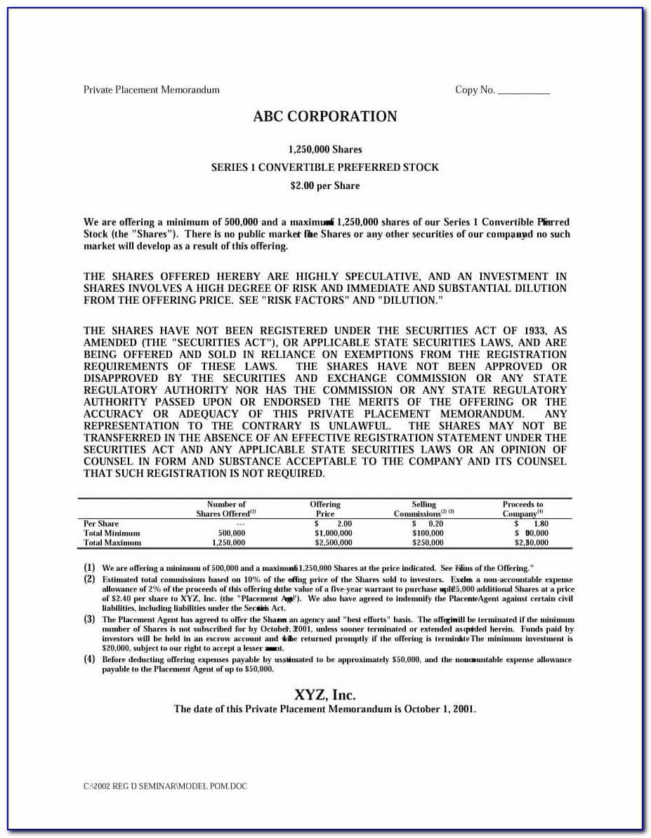 Private Placement Memorandum Example