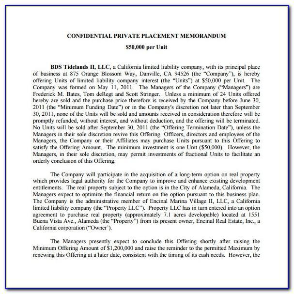 Private Placement Memorandum Examples