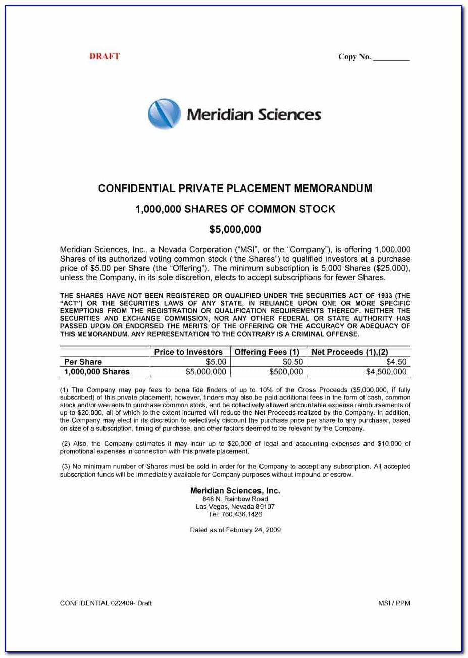 Private Placement Memorandum Form