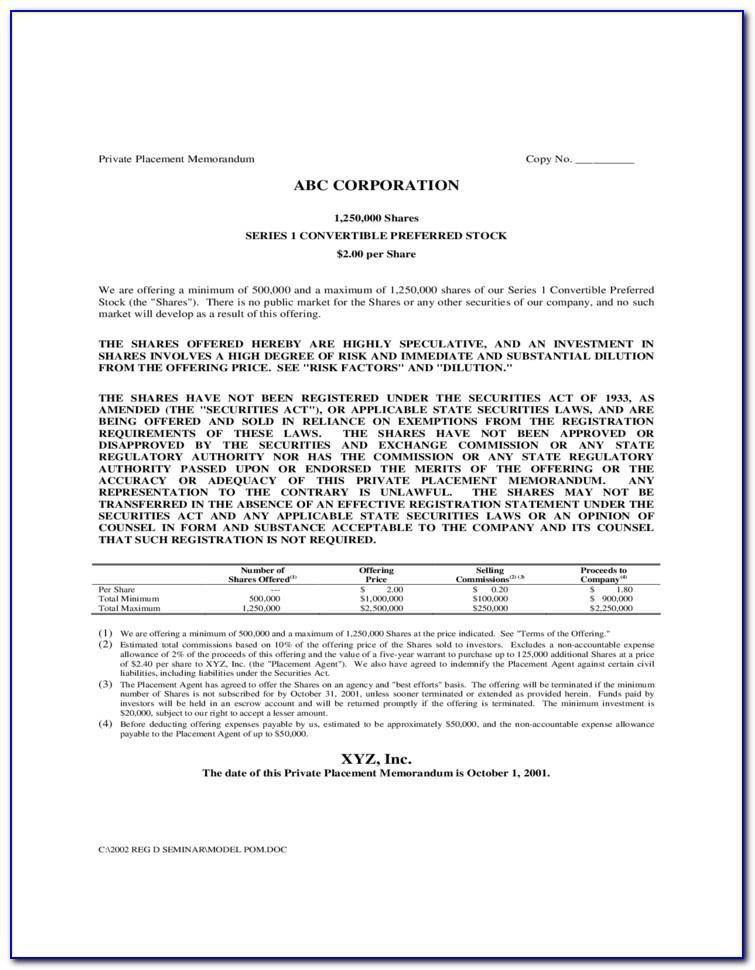 Private Placement Memorandum Hedge Fund Sample