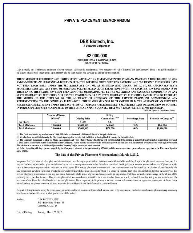 Private Placement Memorandum Llc Sample
