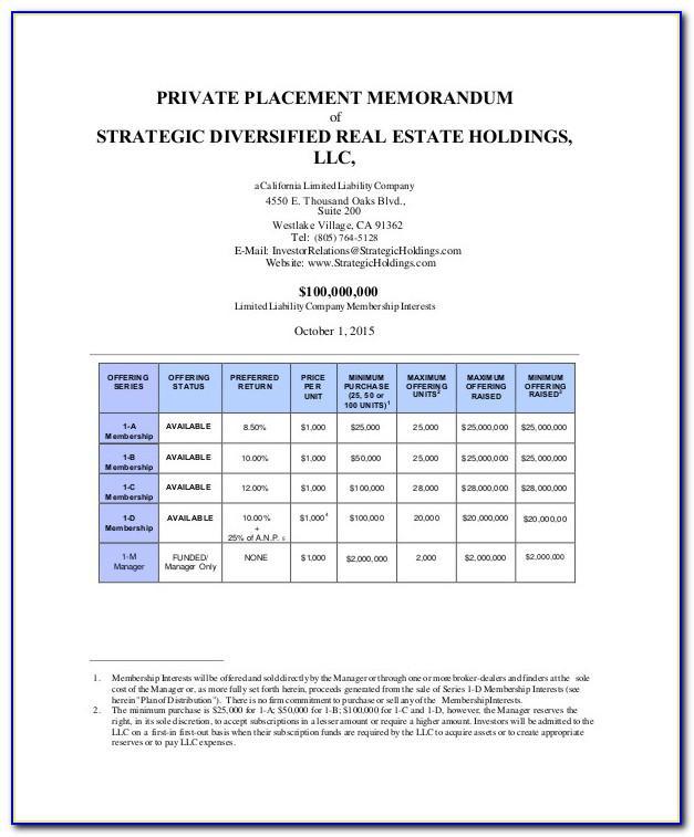 Private Placement Memorandum Real Estate Example
