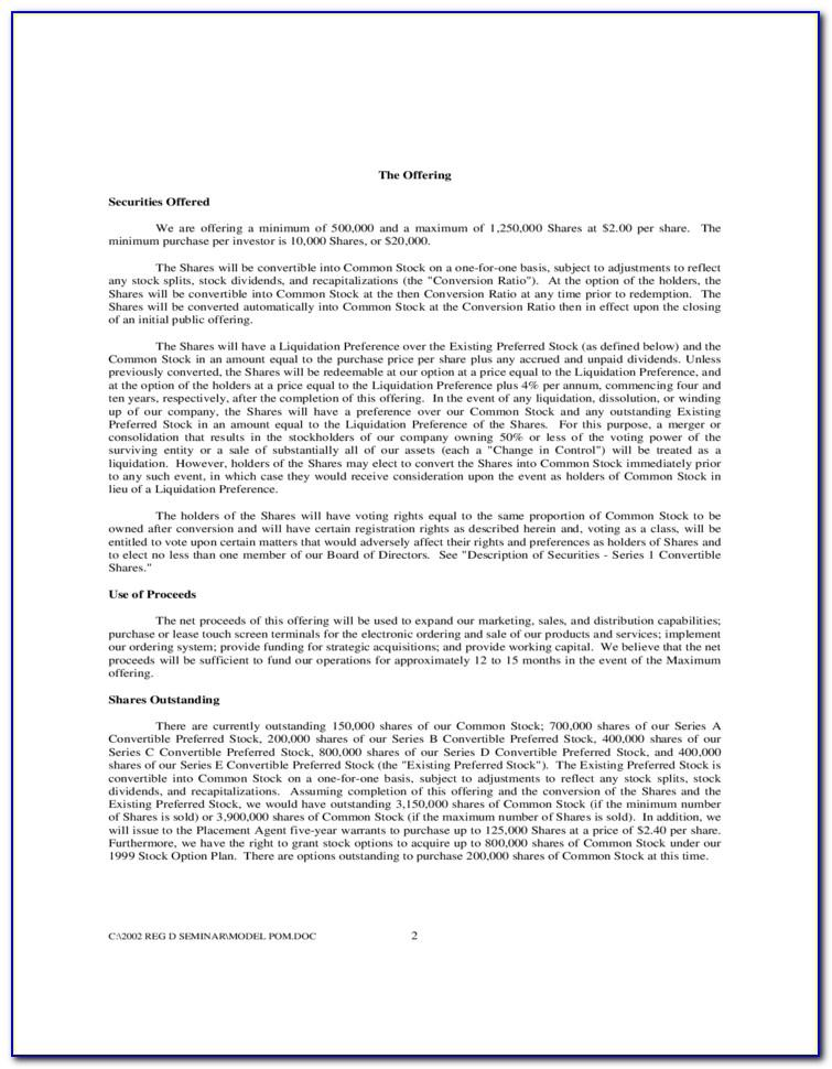Private Placement Memorandum Sample Free