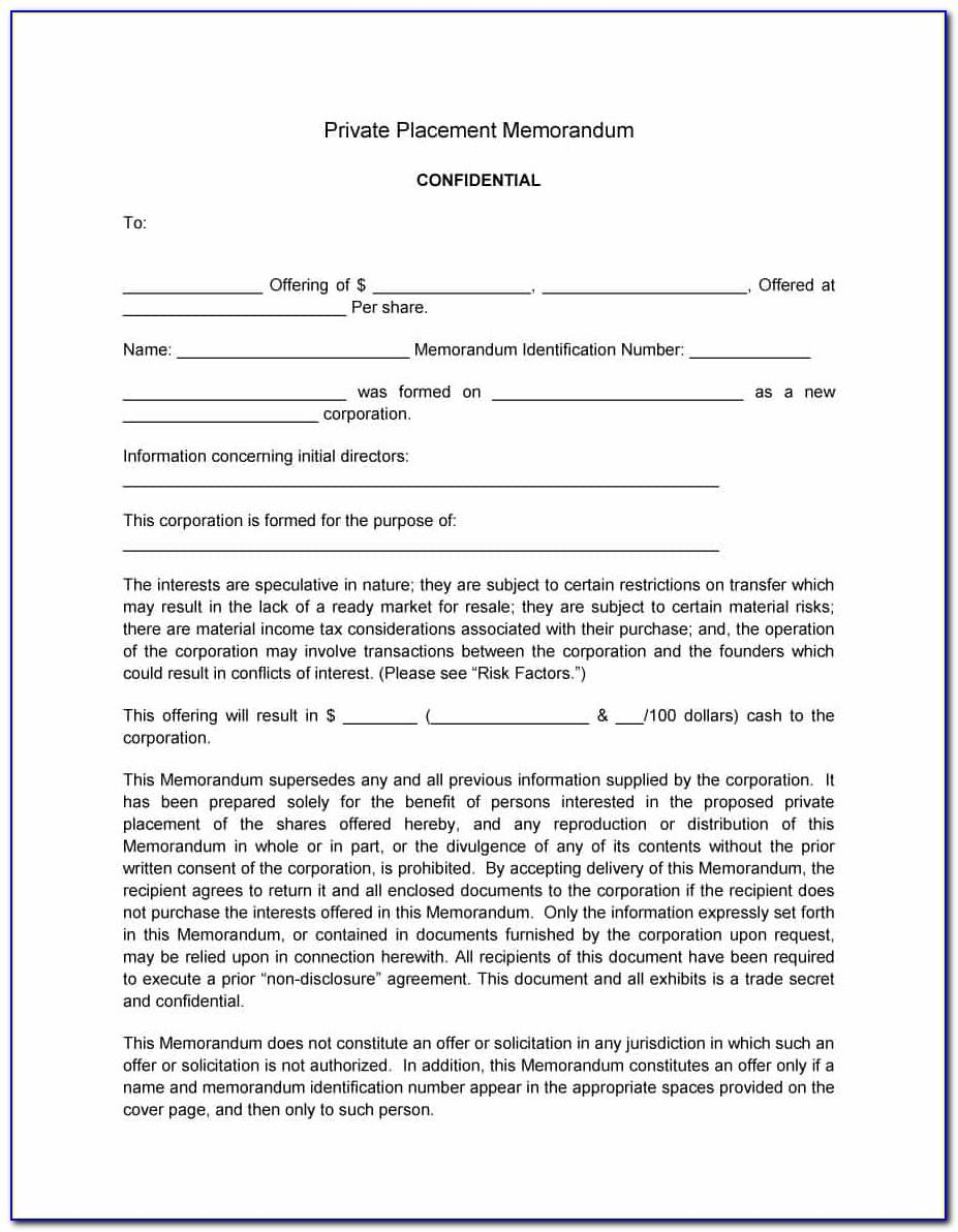 Private Placement Memorandum Template Doc
