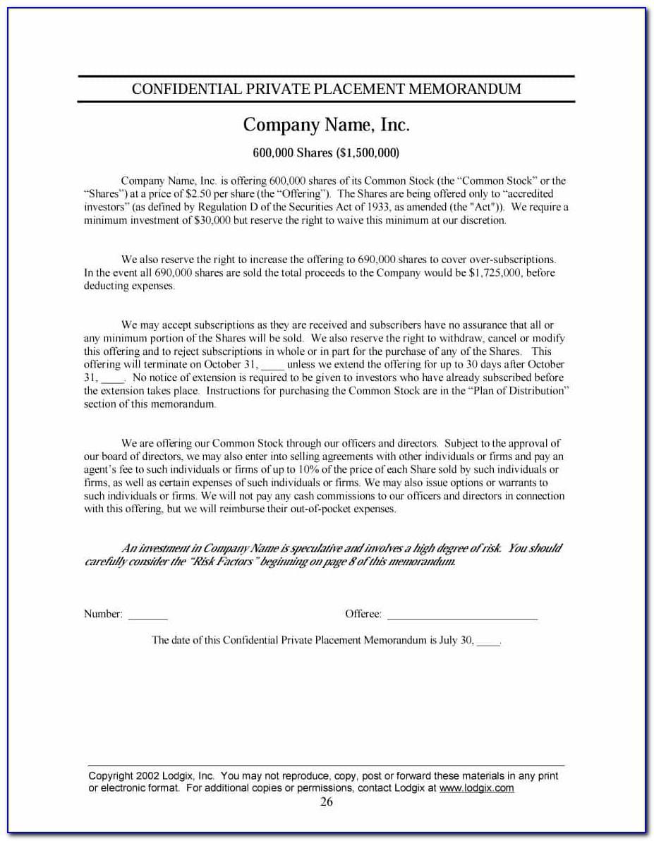 Private Placement Memorandum Template Real Estate