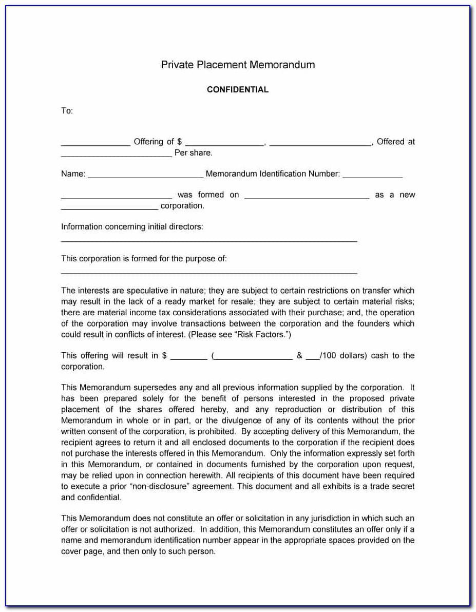 Private Placement Memorandum Template Uk
