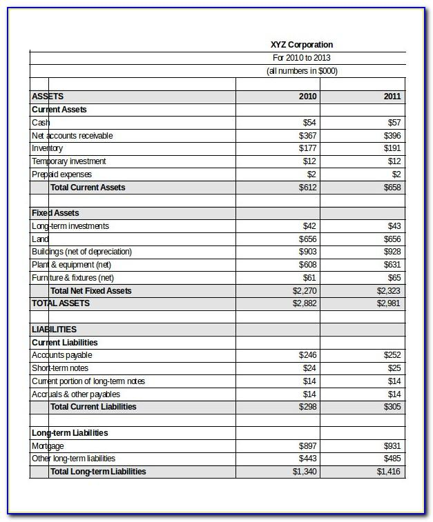 Pro Forma Balance Sheet Excel Template