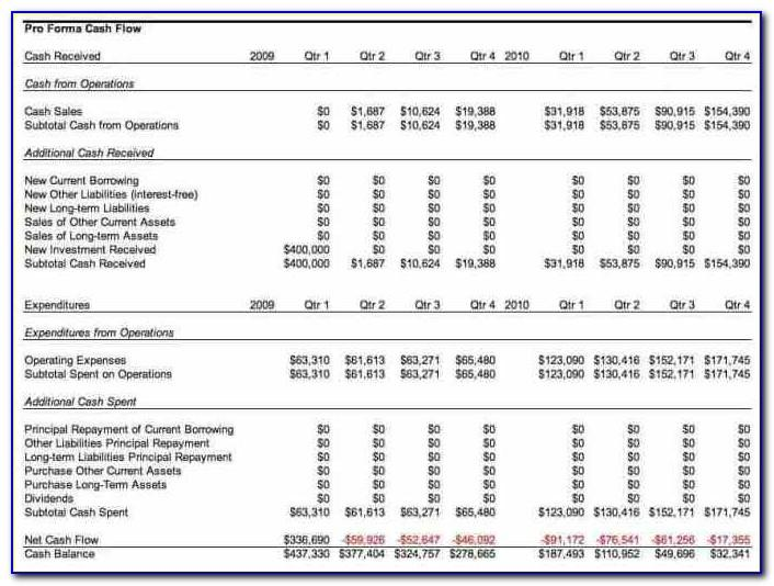Pro Forma Cash Flow Statement Sample