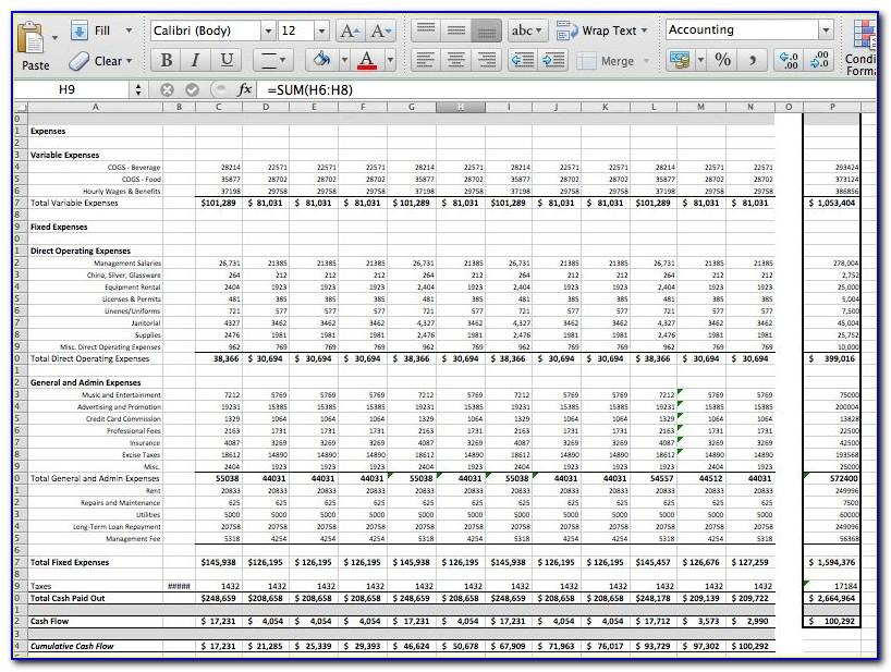 Pro Forma Cash Flow Statement Template Excel