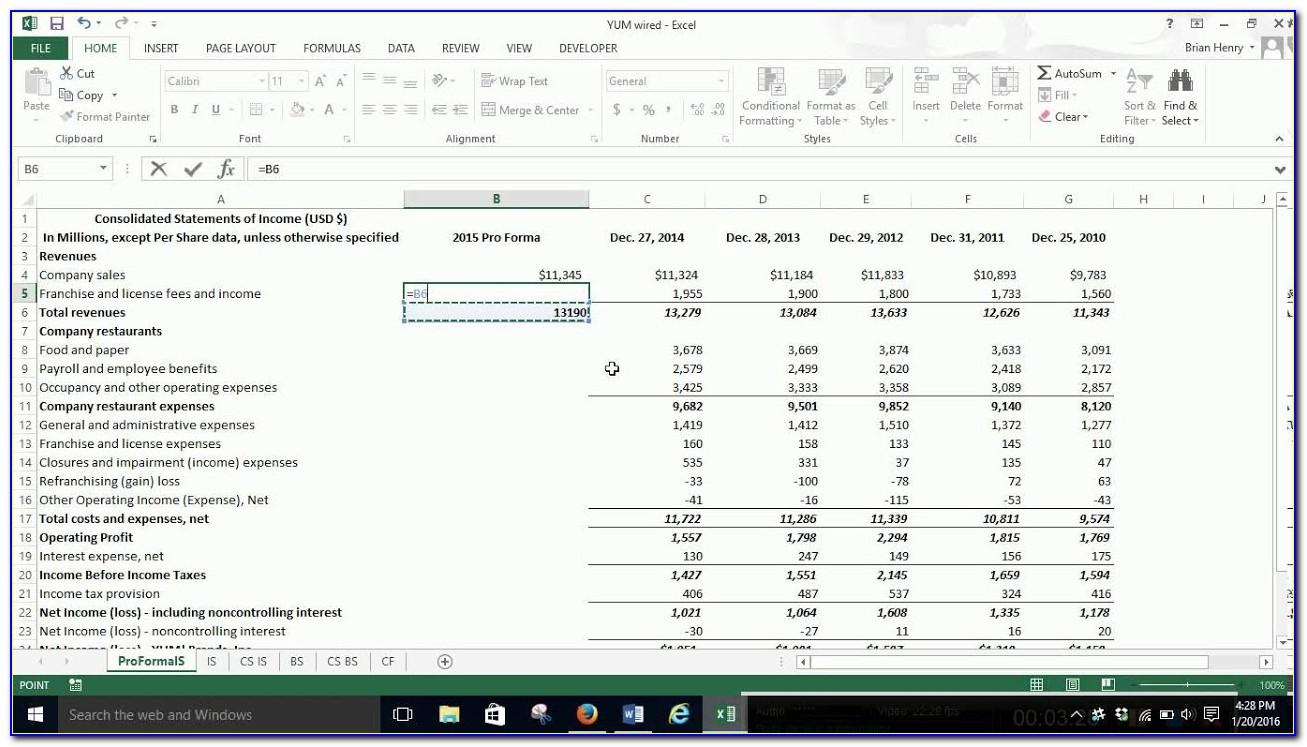 Pro Forma Financial Statement Example