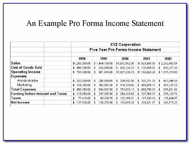 Pro Forma Financial Statement Template Excel