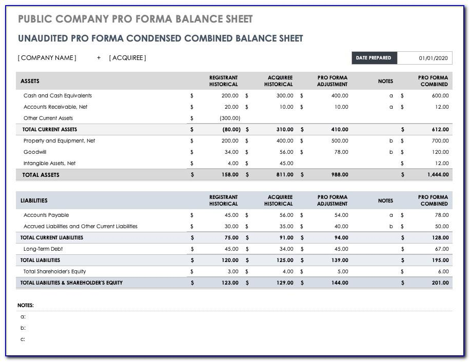 Pro Forma Financial Statements Excel Template