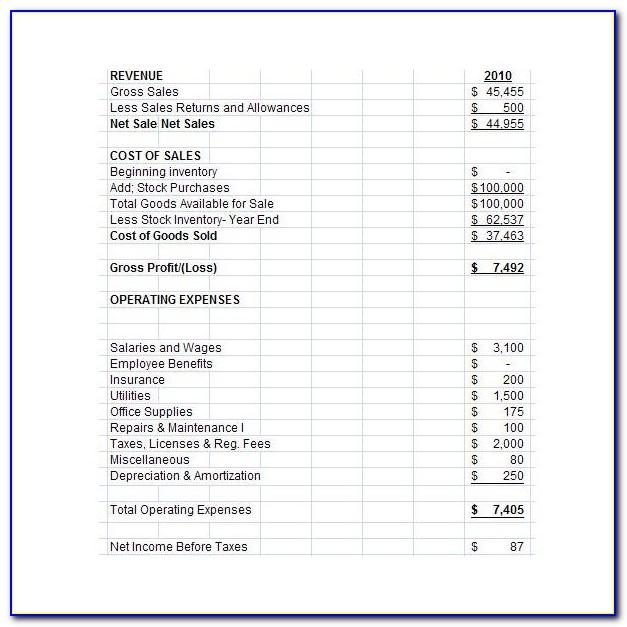Pro Forma Financial Statements Templates
