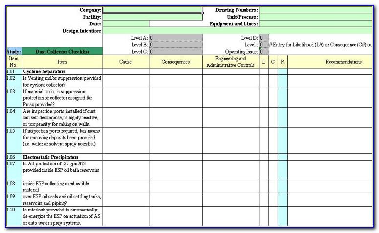 Process Hazard Analysis Checklist Template