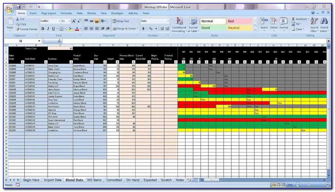 Production Planning Schedule Excel Template