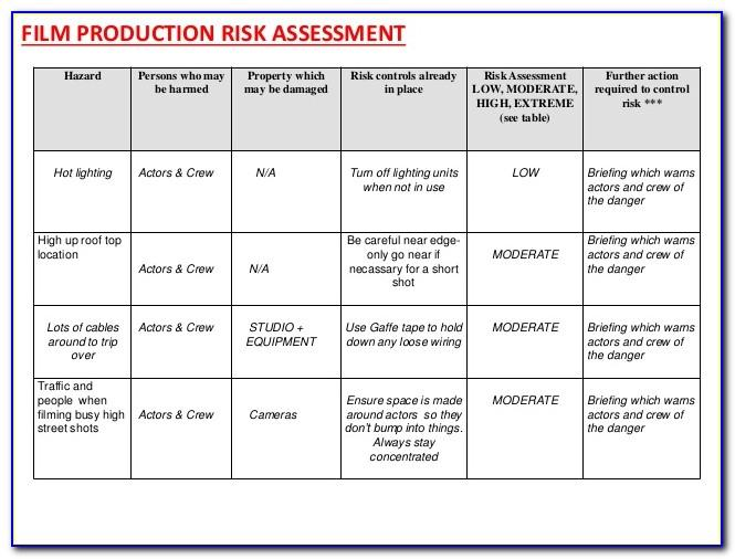 Production Risk Assessment Format