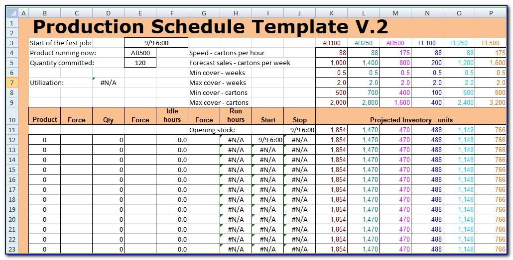 Production Schedule Example Excel