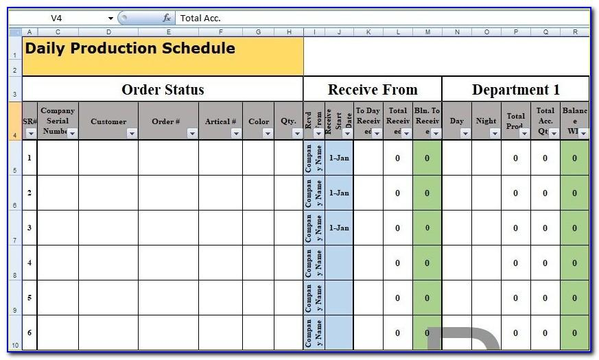 Production Schedule Excel Template Free