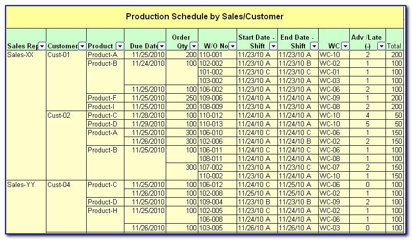 Production Scheduling Excel Spreadsheet