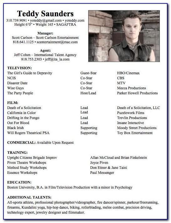 Professional Actors Resume Format