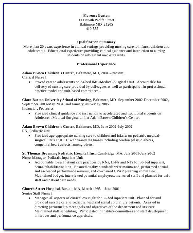 Professional Nursing Resume Example