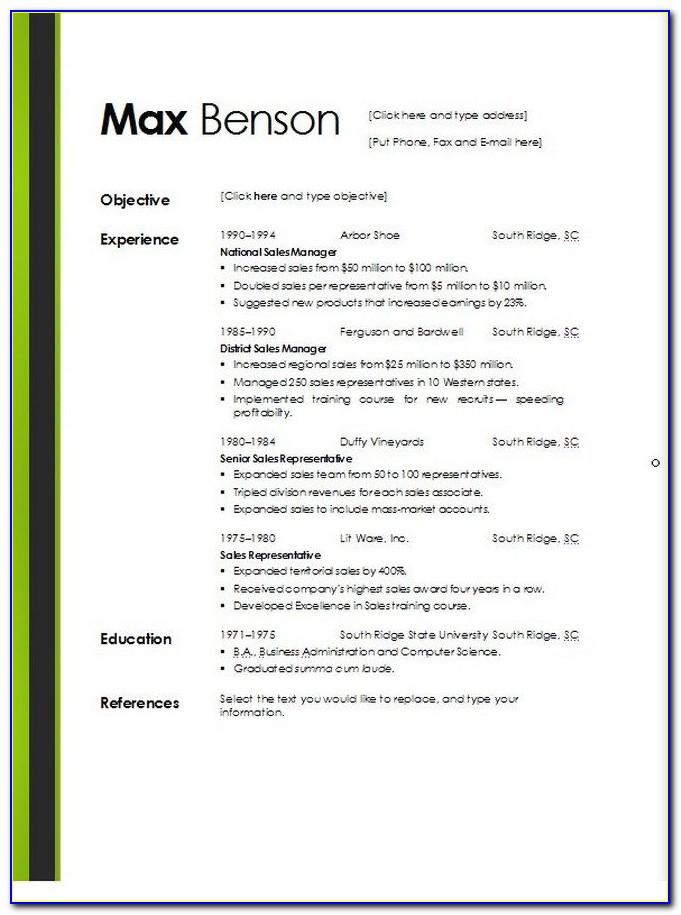 Professional Resume Template Docx