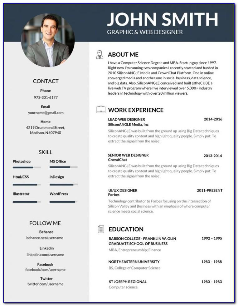 Professional Resume Template With Photo Free Download