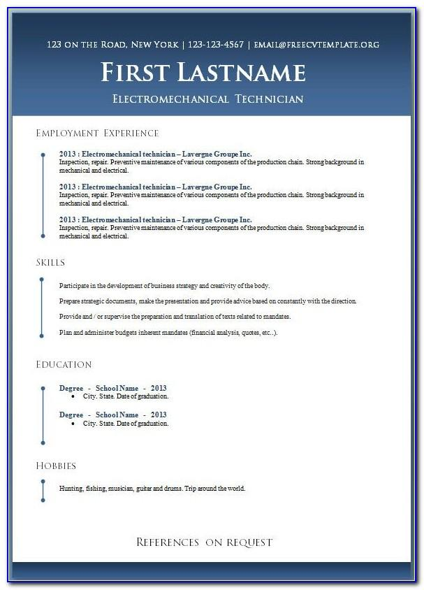 Professional Resume Templates For Freshers Free Download