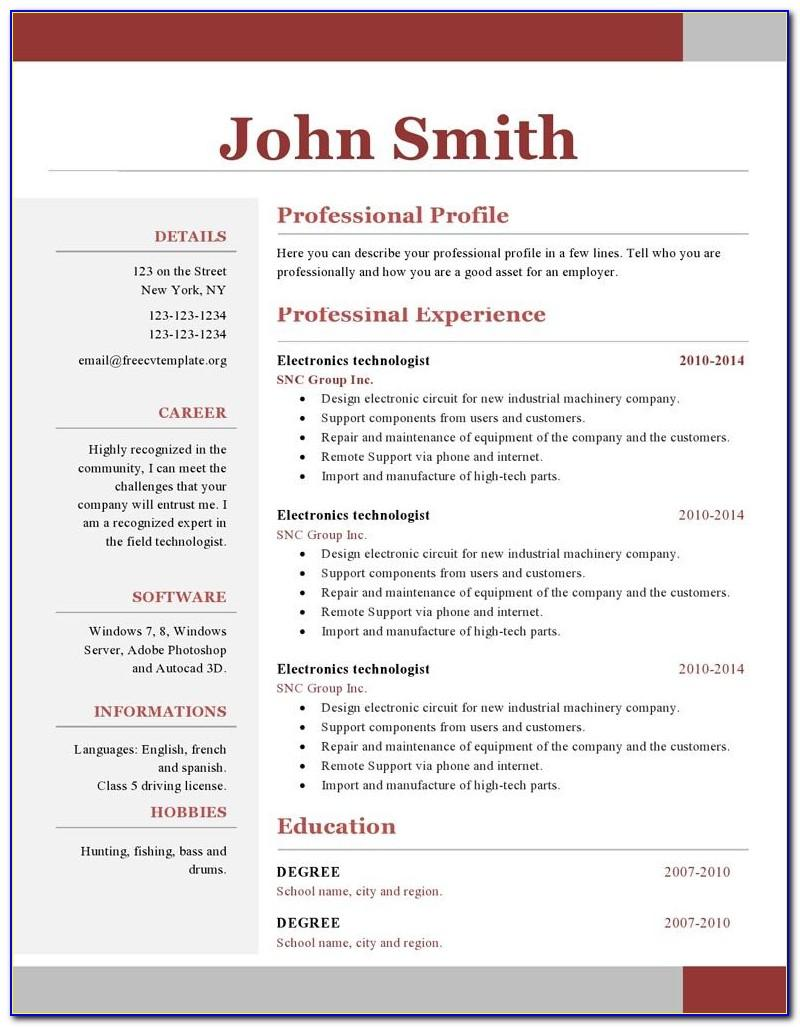 Professional Resume Templates For Microsoft Word