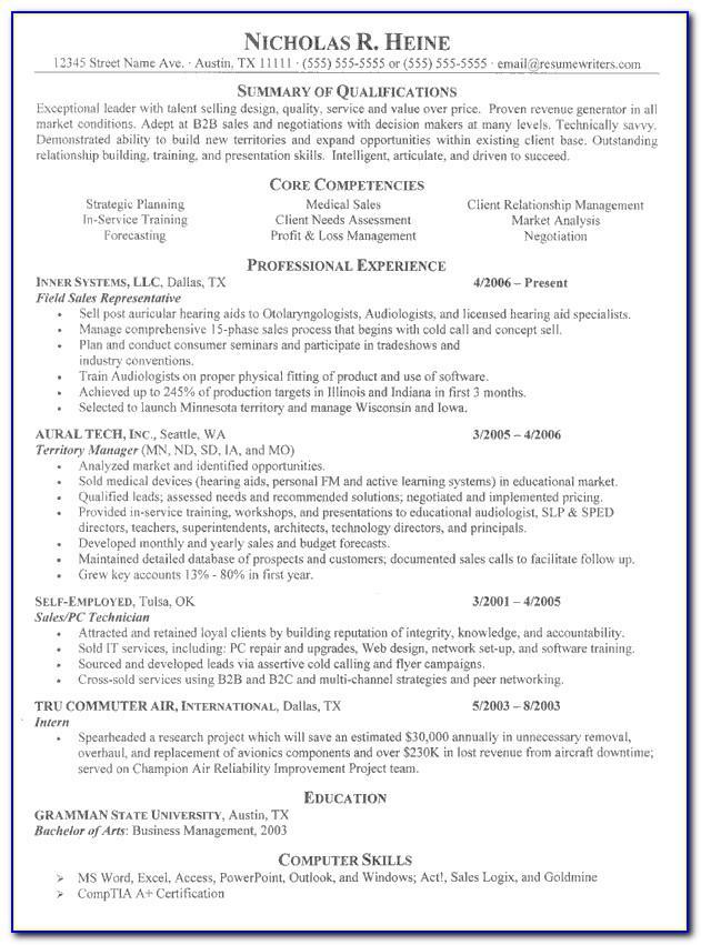 Professional Sales Manager Resume Sample