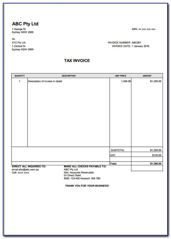 Professional Service Invoice Format In Excel