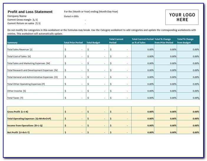 Profit And Loss Statement Excel Template Free Download