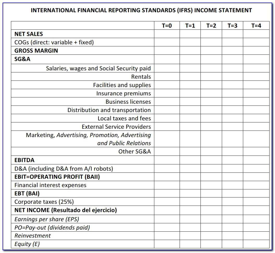 Profit And Loss Statement Excel Template Simple