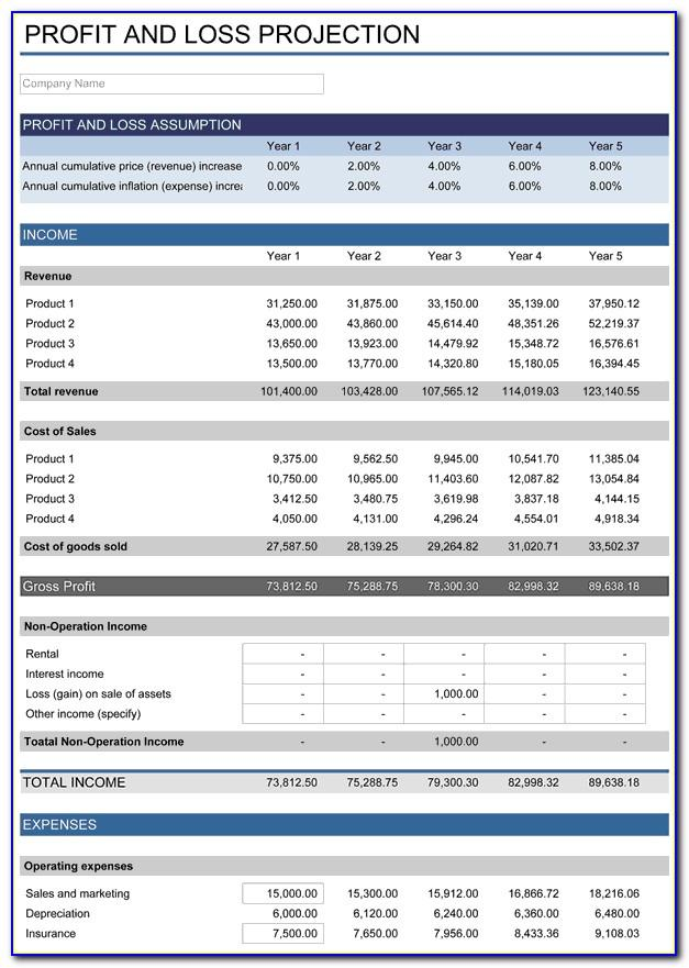 Profit And Loss Statement Spreadsheet Template