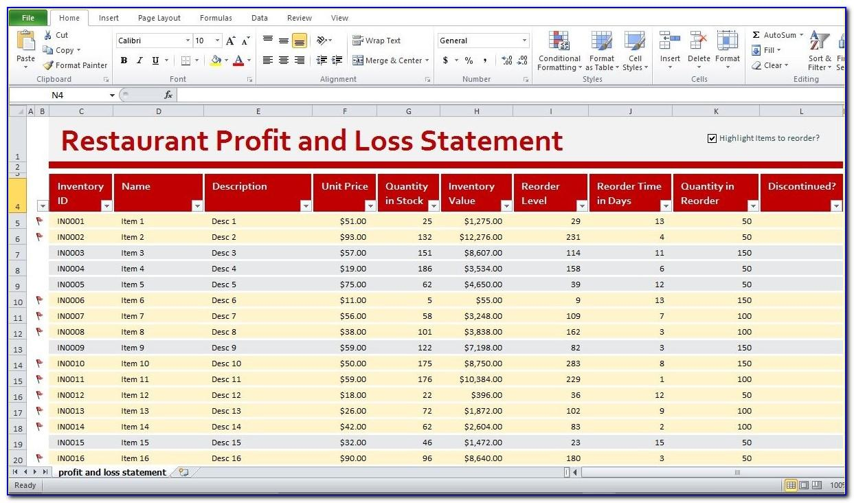 Profit And Loss Statement Template Free Download