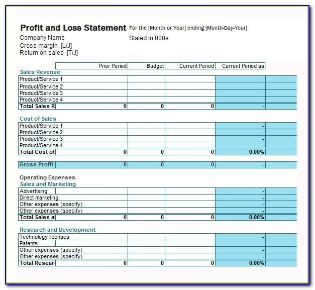 Profit And Loss Template Excel Uk